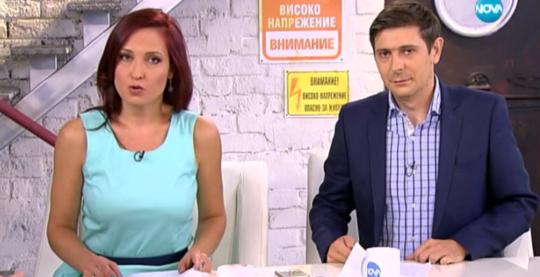 Цолова и Николаев във възтесничкото студио на Нова, което не е променяно от техния трансфер от bTV в тази телевизия.
