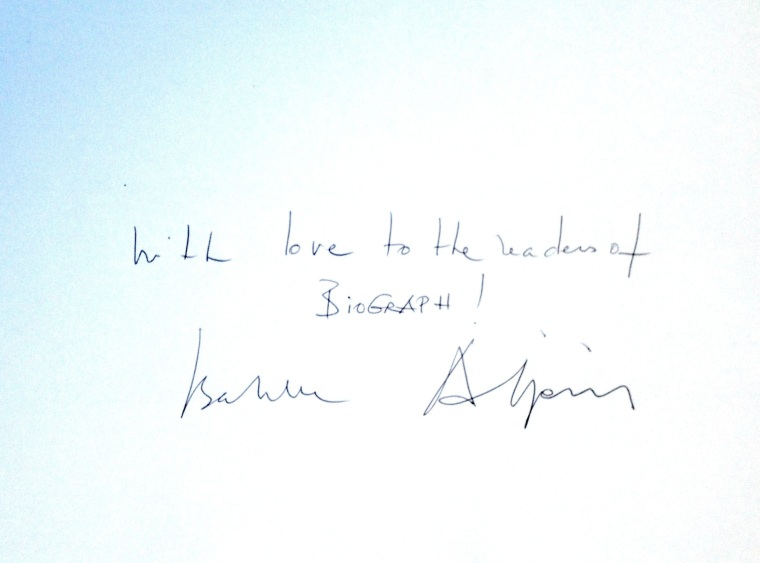 Hand-written message Isabelle Adjani