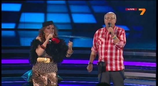 """Кичка Бодурова и Славчо Пеев на сцената на """"Музикална академия"""" – състезание между три поколения, излъчено през есента на 2013-а по ТВ7."""