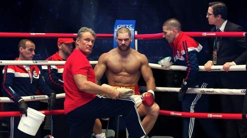 C2_03400_R2 (ctr l-r.) Dolph Lundgren and Florian Munteanu star as Ivan and Viktor Drago and Sean Patrowich as Drago's Cornerman in CREED II, a Metro Goldwyn Mayer Pictures and Warner Bros. Pictures film. Credit: Barry Wetcher / Metro Goldwyn Mayer Pictures / Warner Bros. Pictures © 2018 Metro-Goldwyn-Mayer Pictures Inc. and Warner Bros. Entertainment Inc. All Rights Reserved.